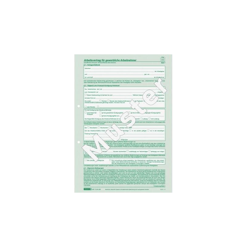 Brunnen Arbeitsvertrag A4 Gewerbliche Arbeitnehmer 245