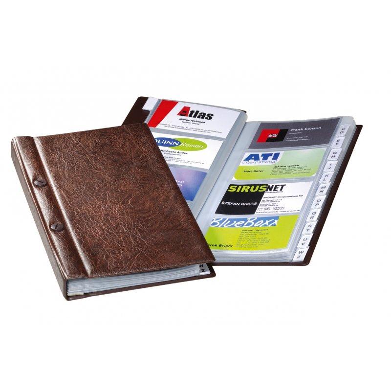 Durable Visifix Visitenkarten Album Mit Schraubverschluss 12 Tlg Register A Z Braun
